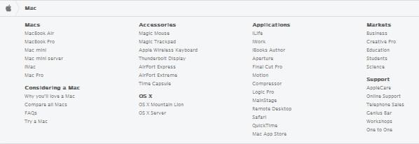 Apple pagini într-un meniu